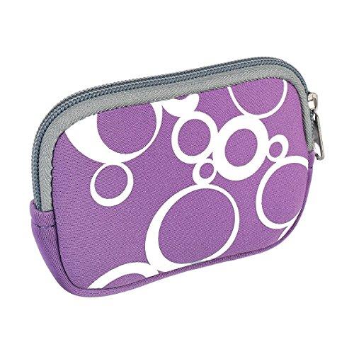 vyvy mobile® stylische Neopren Universal Kameratasche für Kompaktkameras CIRCLES Violett