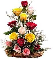 The FloralMart 15 Mixed Roses Fresh Flowers Special Basket Arrangement (Multicolour)