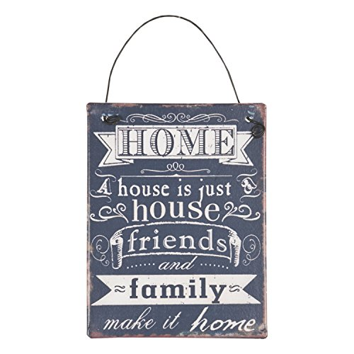 Clayre & Eef 6Y1327 Deko Dekoration Textschild Schild Spruch HOME A house is just... ca. 8 x 10 cm (Home Schilder)