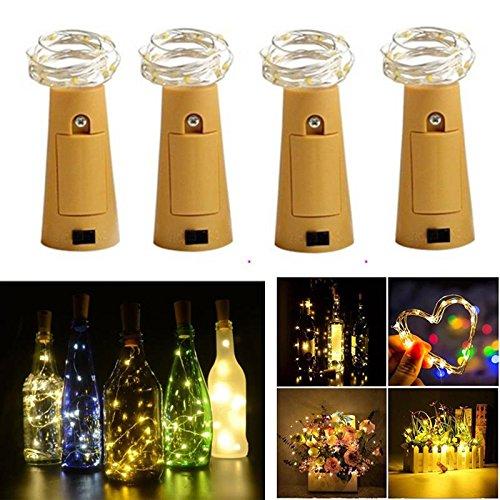Set LED Lichtkette mit Batterien, Flaschenlicht, Weinflasche Lichtkette, Flaschen Korken LED-Kette, Deko Beleuchtung, Kupferdraht LED-Kette, 1 Meter 20 Lichter, (warm weißes) ()