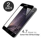 aiMaKE iPhone 6/6S Panzerglas, 2 Stück Ultra-klar Panzerglas Schutzfolie für iPhone 6/6s 4,7 Zoll (nur 0,25 mm Schwarz)