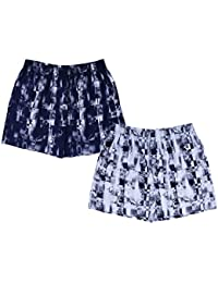 Nuovi Mens Cotton Poplin Photo Printed Navy Blue And White Boxers (Pack Of 2)