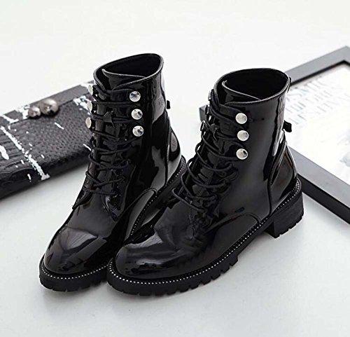 Donne 4cm Chunkly Tacco Martin Boots Cavaliere Stivali Round Toe Handsome puro colore Ribattini Scarpe Stivaletti Stivali Boots Punk Stivali Boots Eu Dimensione 34-40 Black