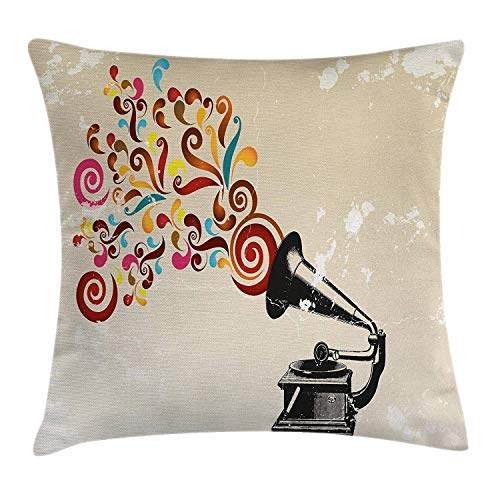 Music Decor Throw Pillow Cushion Cover, Vintage Vinyl Record Player with Floral Abstract Notes Swirls Antique Gramophone Art, Decorative Square Accent Pillow Case, 18 X 18 Inches, Multi