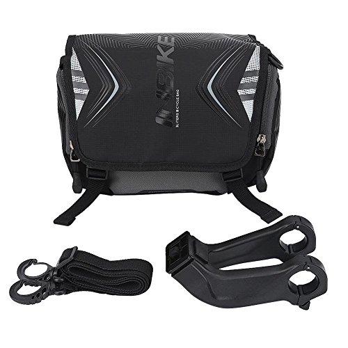 Fahrrad Lenkertasche Wasserdichte Fahrrad Fronttasche Einzelne Schultergurt Tasche mit Halterung und Regen Cover Bike Zubehör(Schwarz)