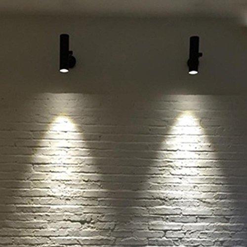 Vintage Industrial Wandlampe Schwenkbare Flurlampe 3W LED Strahler Industrielampe Deckenspot für Café Keller Bar Flur Küchen Büro Schlafzimmer Schwarz Hintergrund Wand Single Head Spotlight