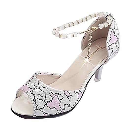 Gaorui Damen Mädchen Sandalette Knöchelriemchen Sandale Stiletto rosa beige Rosa