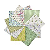 RayLineDo® 10pcs 12 x 12 inches (30cmx30cm) Print Cotton Green Series Fabric Bundle Squares Patchwork DIY Sewing Scrapbooking Quilting Pattern Artcraft