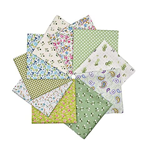 RayLineDo® 10pcs 8 x 8 inches (20cmx20cm) Print Cotton Green Series Fabric Bundle Squares Patchwork DIY Sewing Scrapbooking Quilting Pattern