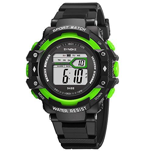 Pottoa Herren Damen Sportuhr | Fitness Analoge Armbanduhr | Multifunktions 30M wasserdichte Uhr mit LED Digital High-End-Quarzstahlband Geschäftsuhr