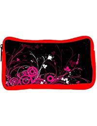 Snoogg Eco Friendly Canvas Abstract Pink Designer Student Pen Pencil Case Coin Purse Pouch Cosmetic Makeup Bag