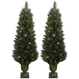 Set of 2 Light Up Prelit Artificial Pine Indoor/Outdoor Pathway Christmas Trees