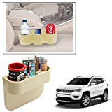 Vheelocityin Beige 2 Drink Holder and Mobile Holder Tray Storage Utility for Jeep Compass