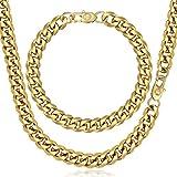 Trendsmax Curb Kubanischen Halskette Armband Set für Herren Kette Edelstahl Gold Ton 9mm 8inch & 20inch
