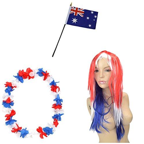 Sonia Originelli Fan-Paket-4 WM Fußball Langhaar Perücke Hawaiikette Flagge Party Farbe Australien