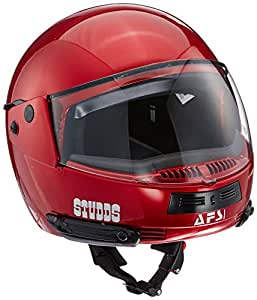 Studds Full Face Helmet Ninja Pastel (Plain Cherry Red, M)
