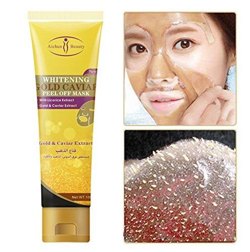 100ml Mask, 24K Gold Facial Tearing Abziehen feuchtigkeitsspendende Maske, Whitening Poren Reinigung Gesicht Kaviar Maske Hautpflege für alle Hauttypen -