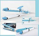 Set di 2dispositivi 3in 1ferro a capelli arriccia-capelli e Mini ondata cialda + Piastra di viaggio blu