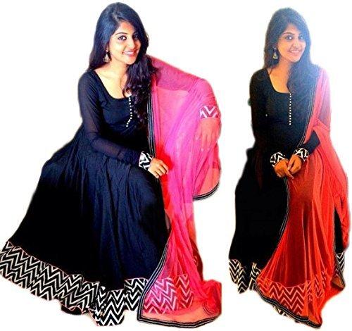 Surat4Fashion Women\'s Silk Blue Anarkali Salwar suit (Suit555_Blue_Free Size)