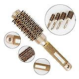 AOLCVO Brosse en poils de sanglier, brosse à cheveux professionnelle, brosse à brushing ionique avec corps céramique thermique , doré, 32#:25.3*3.5cm