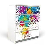 banjado YOURDEA Möbelfolie für IKEA Malm Kommode mit 4 Schubladen | Klebefolie 4-teilig ca. 80x100cm | Möbelsticker Selbstklebend mit Motiv Farbspritzer