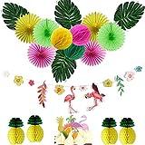 Easy Joy Summer Party Deco Papier Ananas Flamants Roses Décoration Guirlande Feuilles Tropicales pour Fête Hawaiian Luau Jungle + Flamant Gateau Topper - 15pcs