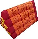 Guru-Shop Thaikissen, Dreieckskissen, Kapok - Rot/orange, Baumwolle, 30x30x50 cm, Asiatisches Sitzkissen, Liegematte, Thaimatte