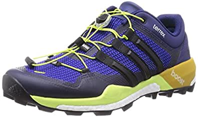 Adidas Men's Terrex Boost Indigo, Core Black and Solar Yellow Gore-Tex Trekking and Hiking Footwear Shoes - 9 UK