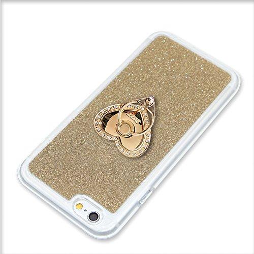 per iPhone 7 4.7 Custodia case,Herzzer Mode Crystal per iPhone 7 4.7 Creativo Elegante Transition Color cover,Protettivo Skin lusso di Glitter Bling Gradiente Colore fuxia,Unico Molto sottile Modeli Oro anello