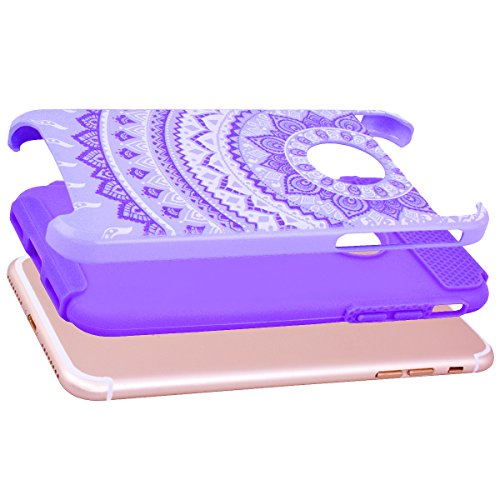GrandEver iPhone 7 Plus Hülle Weiche Silikon Handyhülle PC & TPU Bumper 2 in 1 Schutzhülle Schutzhülle für iPhone 7 Plus Rückschale Anti-Kratzer Stoßdämpfung Ultra Slim Rückseite Silicon Backcover Sof Tief Lila/Lila