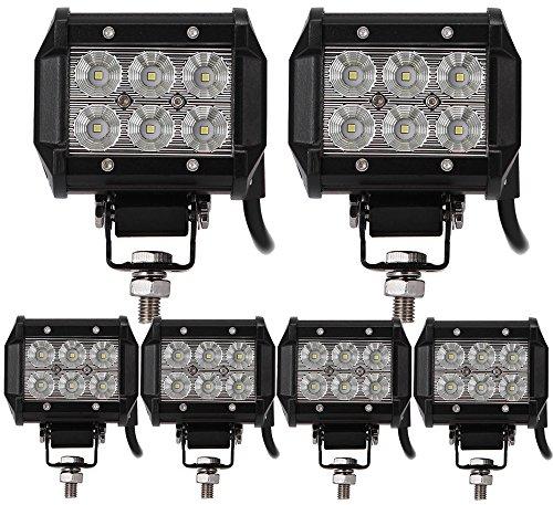 ALPHA DIMA 6X 18W Projecteur Phare de Travail IP67 Feux Antibrouillard LED Spot LED 12V 24V pour Camion,Off Road,4x4,SUV,UTV,VTT,Bateau,Moissonneuse,etc.
