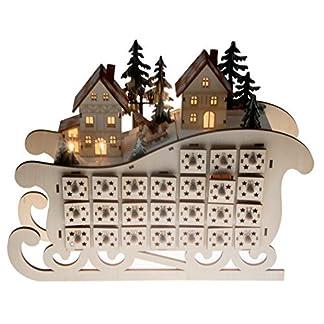 Clever Creations – Calendario de Adviento – Cuenta atrás de 24 días hasta Navidad – Trineo con Casitas iluminadas – Madera – 28,6 cm