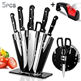 Knife Block Set 5PCS Stainless Steel Kitchen Knife Sets wiht 1pc Knife Sharpener