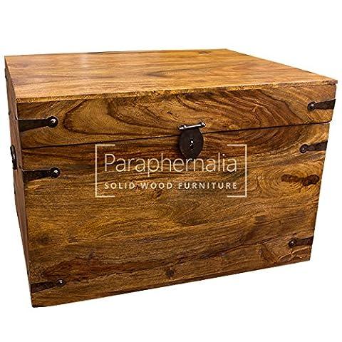 Jali solid sheesham wood trunk box (storage chest) - 48cm