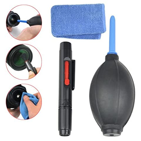 3 in 1 Camera Lens Cleaning Cloth Cleaner Dust Pen Blower Cloth Kit for DSLR VCR