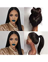 Fureya 180% density Straight Glueless Synthetic Lace Front Wigs for Women Heat Resistant Lace Front Wigs with Baby Hair Natural Black 24 inch