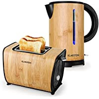 Klarstein Bamboo Garden Set de desayuno hervidor de 1,7 litros 2200W y tostadora de 870W (diseño bambú, cool touch, compacto)