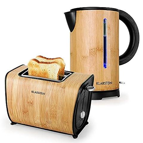 Klarstein Bamboo Garden Frühstücksset Wasserkocher + Toaster (Wasserkocher 2200 Watt, 1,7 Liter, Wasserstandsanzeige, 2-Scheiben-Toaster, 870 Watt, 6 Bräunungsstufen, Bambus) beige
