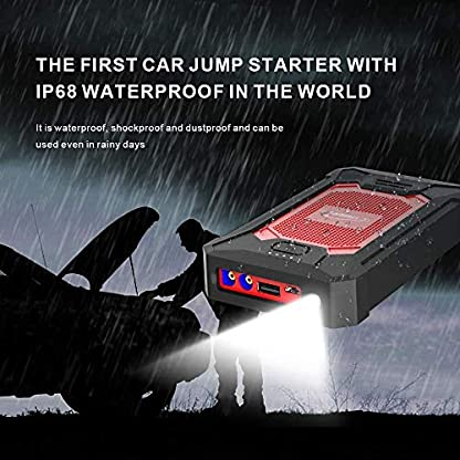 YABER Arrancador de Coches 12000mAh, 600A IP66 Impermeable Jump Starter Batería para Emergencias de QC 3.0 con Pinzas Inteligente, para 4L / 190HP Gasolina o Diesel 2L / 95HP (3 Modos Linterna LED)