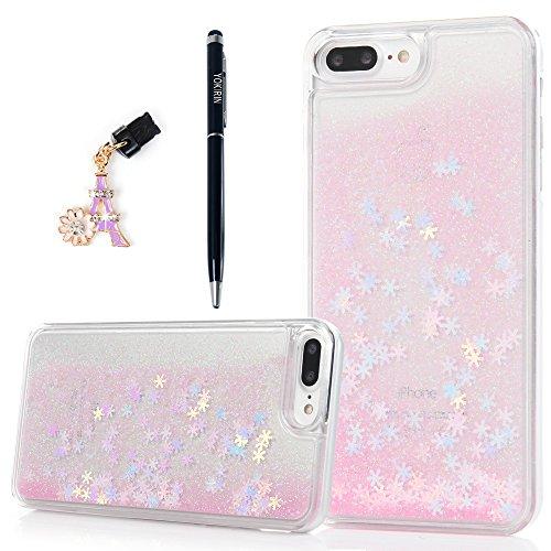 iPhone 7 Plus Hardcase YOKIRIN iPhone 7 Plus Schutzhülle Glitzer Sparkle Schnee Bling 3D Treibsand Case Hartschale Handyhülle Tasche Skin Schale PC Backplane Handytasche Etui Handycase Pink Pink