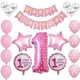 Toupons 1er Anniversaire décorations pour bébé Fille, Pink Birthday Banner Latex et Feuille Ballons Kit (Pink)