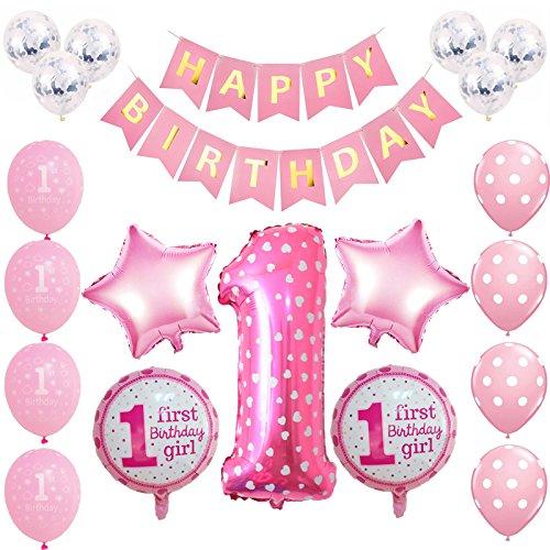 Toupons 1. Geburtstag Dekorationen für Baby, rosa Alles Gute zum Geburtstag Banner Latex und Folie Ballons Set (Zum Spielzeug Ersten Geburtstag)