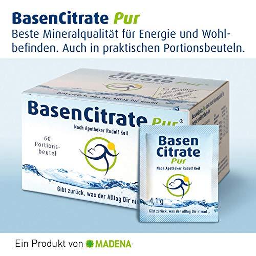 MADENA BasenCitrate Pur Sachets nach Apotheker Rudolf Keil | 60 Portionsbeutel - Basenpulver | Magnesium, Zink, Kalium, Calcium, plus viel Vitamin D3 | Ohne Natrium | Bei Sport - Diät - Basenfasten