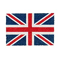 Nicola Spring Non-Slip Coir Door Mat - 40 x 60cm - Union Jack - PVC Backed Welcome Mats Doormats