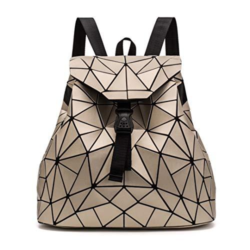 Womens Rucksack Geometrie Tasche Studenten Schultaschen Rucksack Kordelzug holographische Rucksack leuchtende Rucksäcke Gold