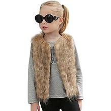 bebe niña invierno abrigo,Longra ❤️ Niñas chaleco sin mangas abrigo chaqueta chaleco de pelo largo chaleco