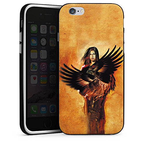 Apple iPhone X Silikon Hülle Case Schutzhülle Engel Flügel Frau Silikon Case schwarz / weiß