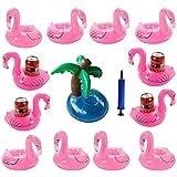 iLoveCos Gonflable Porte-gobelets Matelas Tropicale Flamant Rose et Palmier pour Jouet Piscine Bébé Gadget Bouées (12 Pièces)