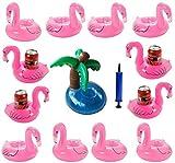 iLoveCos Aufblasbare Spielzeuge Pool Getränkehalter, Flamingo Palme Aufblasbare Flaschenhalter Schwimmender Getränk Getränkehalter Sommer Strand Untersetzer Party Deko Liefern Wasser Spaß Luftpumpe