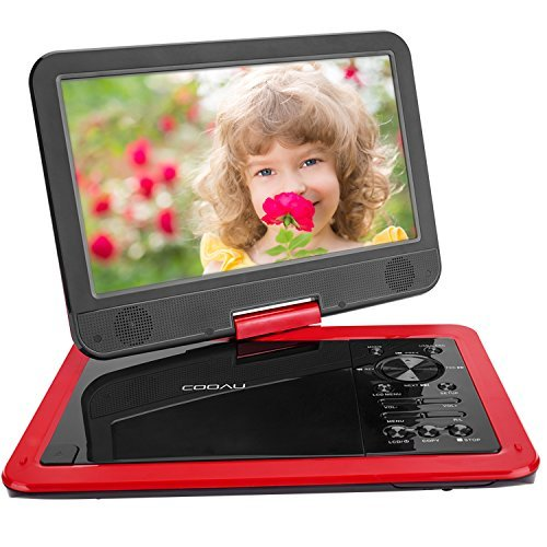 """COOAU 12.5"""" Portable DVD Player with 10.5"""" Swivel Screen, 5 Hours Rechargeable Battery, Free 1.8m Car Charger, Support Resume Play, Red"""
